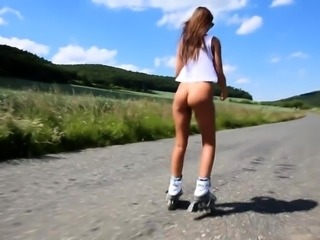 Sexy slim brunette exposes her lovely body in the outdoors