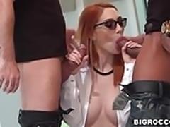 Busty Redhead Luna Melba loves big cock DP