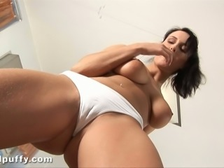 This brunette has a nice cameltoe and she always leaves her panties on