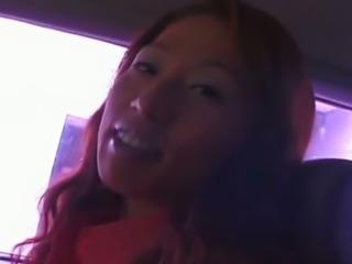 Real Japanese street slut Miho Hayashi gets twat fingered in the car