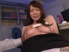 Attractive Japanese buxom secretary Yui Hatano is fucked on the table