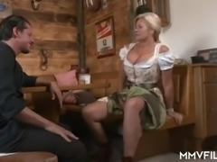 Wrinkled auburn pub owner with pierced cunt Maria Montana is fucked doggy