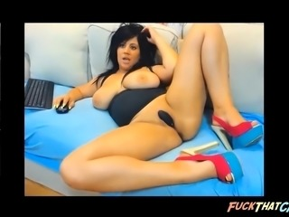 Busty Housewife in heels infront of cam until she cums