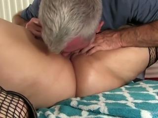 Becki Butterfly hugs her private masseur who often masturbates her twat