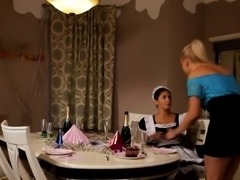 Sexy Blonde Makes Maid Eat Her Cunt