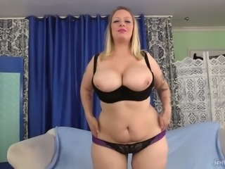 Shaved fat cunt of dirty blonde BBW Sinful Samia needs fat erected cock