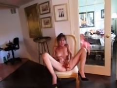 Naughty amateur granny in high heels pleases her needy cunt