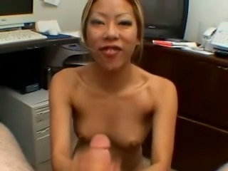This Asian secretary is a rare find and she knows how to give a proper blowjob