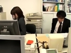 Elegant Japanese babes in uniform get nailed in the office