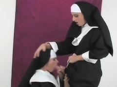 Peculiar girls bang the biggest belt dicks and spray cum all