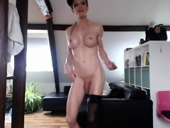 Lovely blonde tranny exposes her sexy curves in the shower