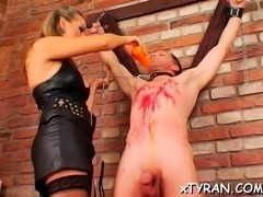 Dude gets butt fucked with strap on during fedom act