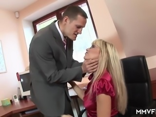Auburn lusty office nympho Natalli Di Angelo gets her Slovakian twat drilled...