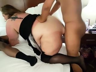 Chunky brunette wife enjoying a wild interracial threesome