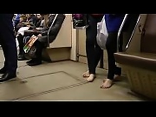 Dirty Feet in the Winter on Subway Part 1- www.prettyfeetvideo.com