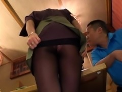 Asian cutie in nylons has a guy licking and banging her cunt