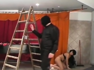 Tied obese bitch gets some bizarre humiliation treatment