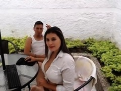 Brunette With Huge Tits In Backyard Gets Pounded