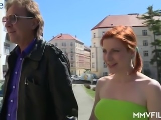 Pigtailed Czech red head Rita Sinclair gets a chance to ride fat cock of stranger