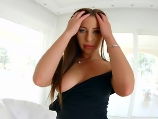 Fabulous buxom beauty Ally has a blue dildo for petting her own juicy twat