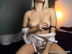 Blonde Babe Fingering Her Pussy with Toys