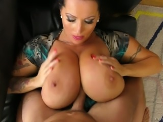 Dude cannot miss a chance to get titjob from huge breasted Laura Orsoia