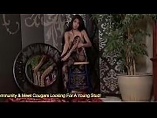 Stunning brunette Megan Salinas rubbing her wet pussy
