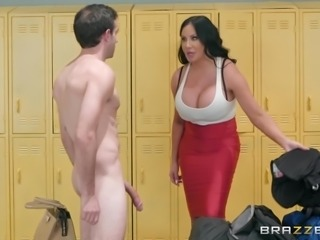 Imagine going into the locker room and finding your friend's busty mom in there. She is sex crazed and her big booty and tight pussy crave for hard, fresh dick! What would you do? Probably same as this guy. You'd whip out your cock and give it to her with all your might!