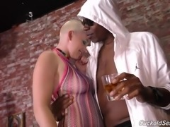 Busty Canadian pale slut Riley Nixon gets brutally fucked by black studs