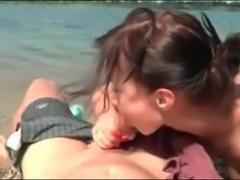 Nude Beach - Pierced Brunette Hottie Rides BF