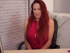 Giant breasted 41 yo office slut Faye Rampton masturbates with a dildo