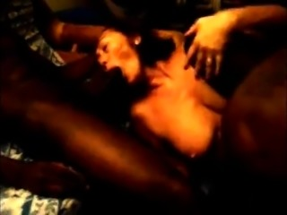 Luscious brunette milf gets used by a gang of black studs