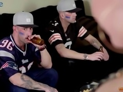 Dull BF watches the game while his buddy fucks the shit out of his GF