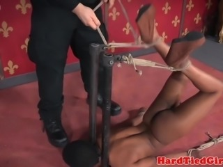 Ebony sub ball tied and gagged by maledom