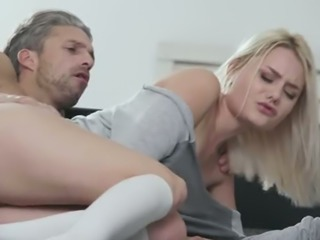 Really emotional light haired babe in stockings Scarlett Knight loves hot fuck