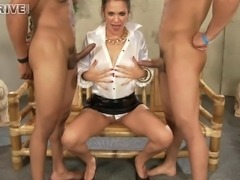 Devoted milf in a two monster cocks bizarre delivering erotic blowjobs and...