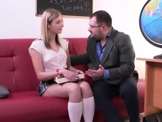 Fervent schoolgirl was seduced and penetrated by her older s