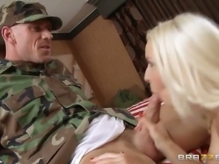 Stunning blond hoochie gives good blowjob to one horny soldier