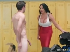 Imagine going into the locker room and finding your friend's busty mom in...