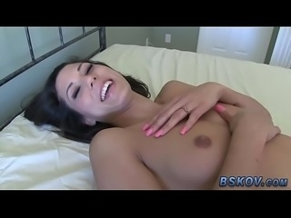 Hot slut tugs for cumshot