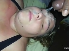 White BBW Cum Slut MILF Gets Huge Load Of Cum On Her Face