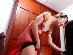Attractive webcam ladyboy in lingerie loves to masturbate