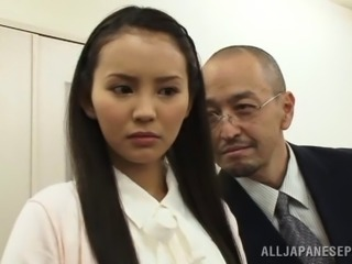 Doting Japanese cowgirl swallows cum after getting her face gang banged in the office