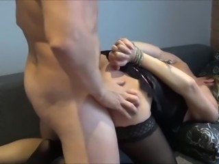 Slutwife Tied Up and Fucked to Strong Squirting Orgasm