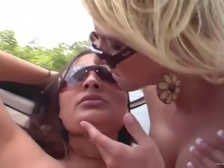 lesbian threesome with horny ladies on a boat