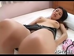 Lovely babe gets her shaved pussy screwed in lots of positions