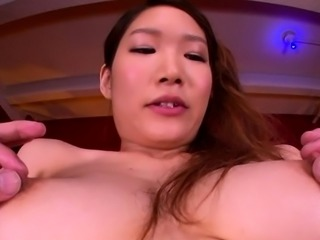 Asian sex doll widens her legs to get muff stimulated