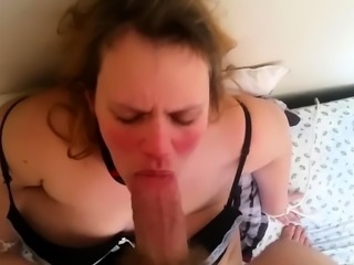 Chunky blonde takes a throbbing shaft in her mouth in POV