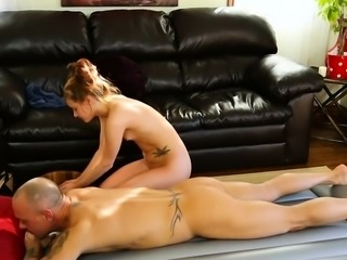 Tiny breasts masseuse Alaina Dawson pounded by client