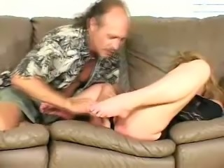 This old fart has a well trained tongue and he is a true foot fetishist